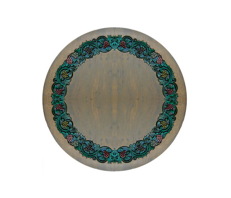 Carved Vintage Style Floral Pattern As Frame On Circle Wooden Texture With  Copyspace To Input Text