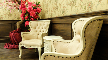 antique: Classic Chinese Vintage Style Table and Chair Furniture Set in a Living Room Stock Photo