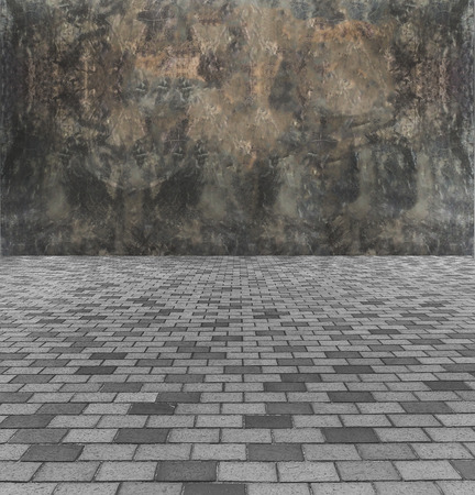 Face The Barrier Concept. Perspective View of Monotone Gray Brick Stone Street Road. Sidewalk, Pavement Texture Background with Abstract Dark Gray Concrete Wall for Interior Design or Business Concept