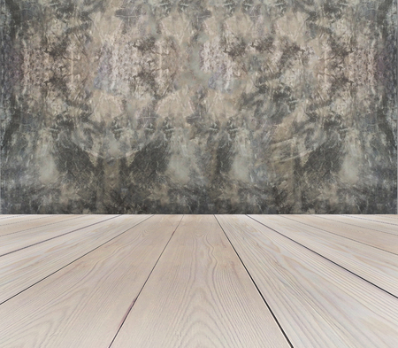 Perspective View of Empty Light Brown Wooden Terrace with Abstract Grunge Gray Concrete Wall Background Texture used as Vintage Template to Mock up Display Product or input Text