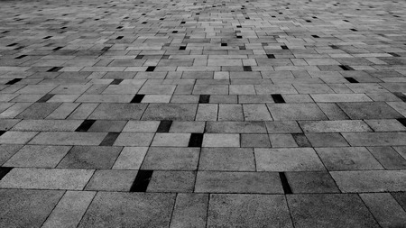 Perspective View of Monotone Grunge Cracked Gray Brick Marble Stone on The Ground for Street Road. Sidewalk, Driveway, Pavers, Pavement in Vintage Design Flooring Square Pattern Texture Background Imagens