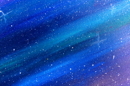 Abstract Art Clod Tone of Colorful Blue and Purple Watercolor Lights Shade on Canvas with White dots as Stars in Space Concept used as Background Texture or Template to mock up or input Text Stock Photo