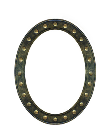 Antique Art Dark Gold Vintage Round or Oval Frame with Buttons Around The Frame Isolated on White Background used as Interior or Template to mock up Photo or input Text with Clipping Path Imagens