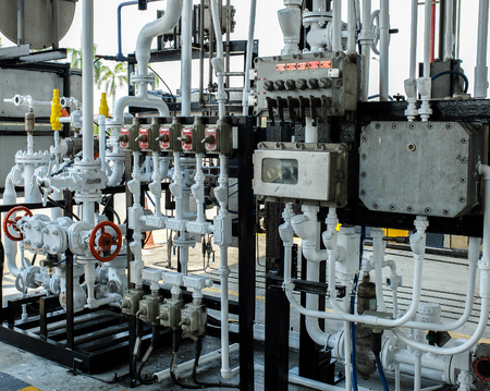 Fuel Loading Control Systems with Valves and Pipelines for Gas , Oil and Fuel in Fuel Terminal, Thailand