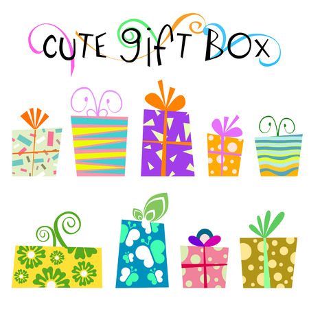 flower box: cute floral gift box   Illustration