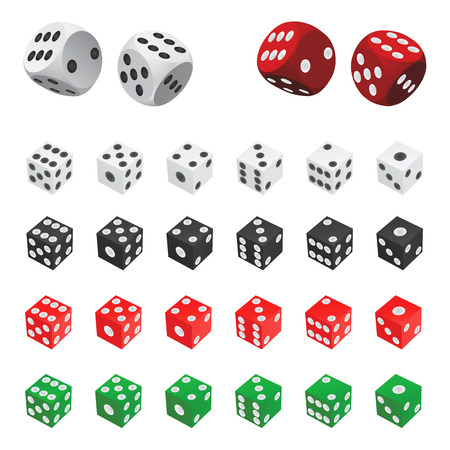 kostky: collection of dice  (four color)