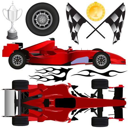 one vehicle: formula car and objects