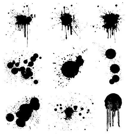 ink stain: black splash set  Illustration