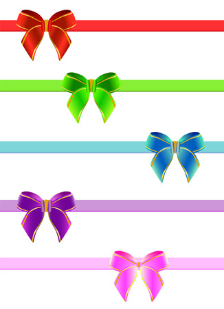 pink bow: set of ribbon bow