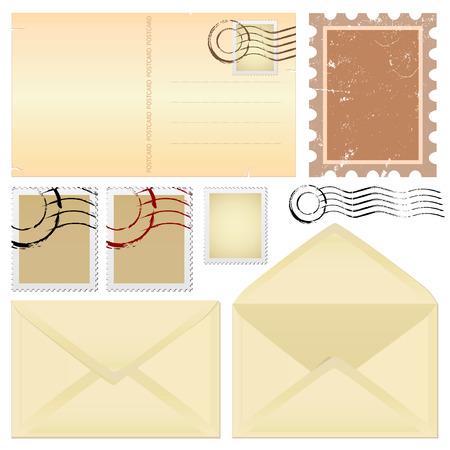postal y sellos  Ilustración de vector