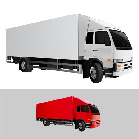 remolques: cami�n de carga de gran detalle  Vectores