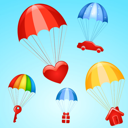 home product: gifts on parachutes  Illustration