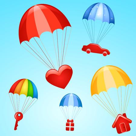 spadochron: prezenty na spadochrony  Ilustracja