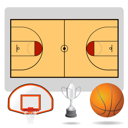 basketball field, ball and objects