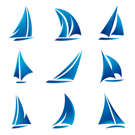 sailing yacht: sailboat symbol set  Illustration