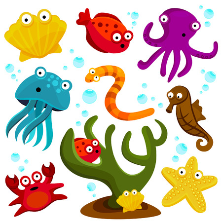 cartoon sea creatures  Vector