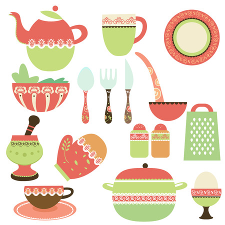 kitchen illustration: kitchen objects