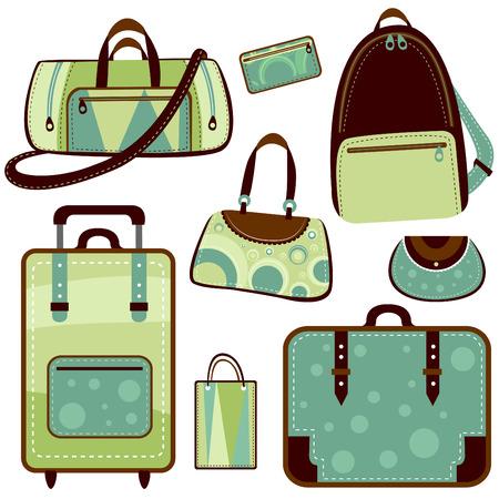 mujer con maleta: Bolsa de moda y maleta  Vectores