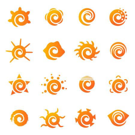 illustrazione sole: set di icone del sole  Vettoriali