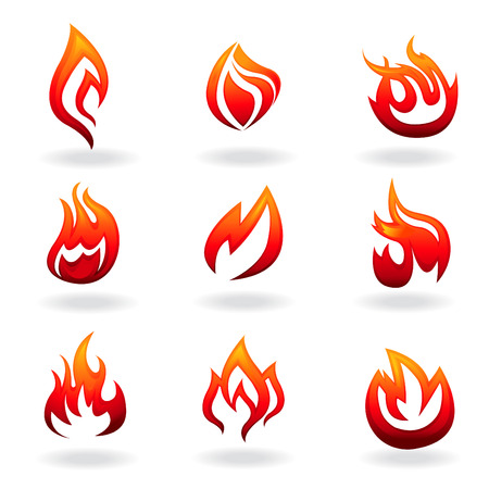 fire icon set Stock Vector - 8229939