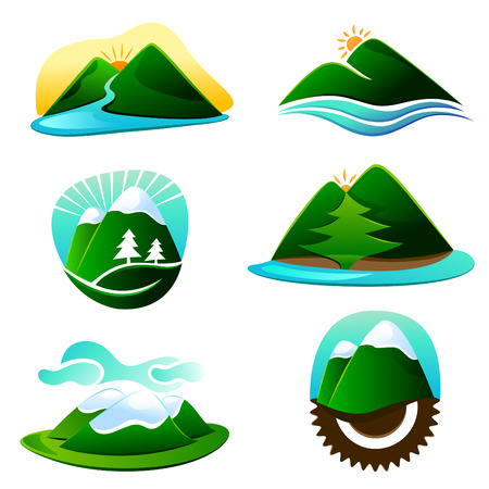 mountains and sky: mountain graphic elements
