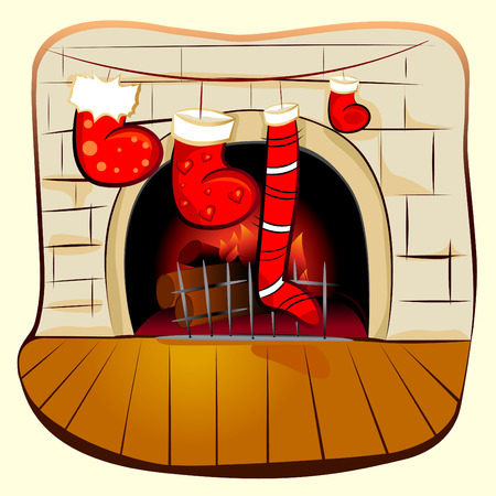 fireplace with christmas  Vector