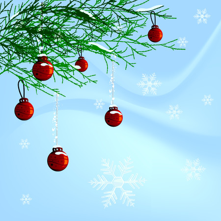 christmas balls and pine leafs Stock Vector - 8229960