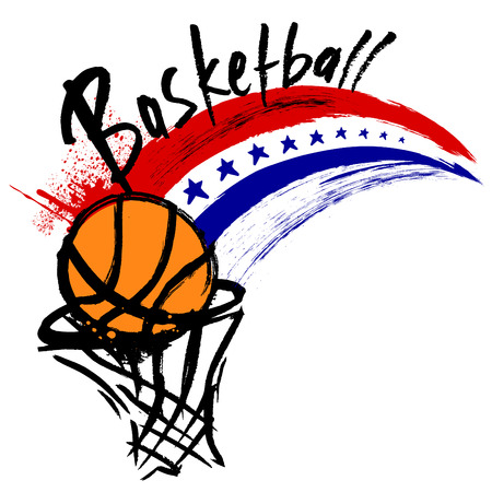 hand baskets: basketball design  Illustration