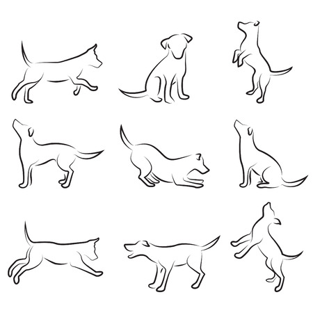cani che giocano: set di disegno del cane