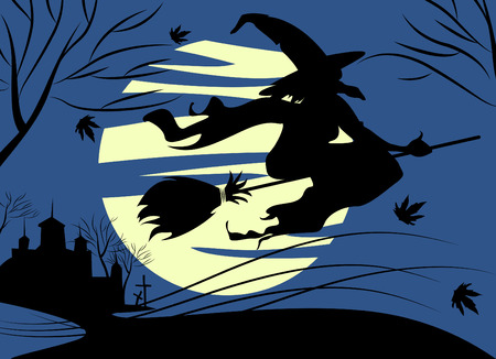 halloween and witch Vector