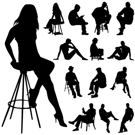 person silhouette: sitting people