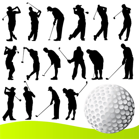 set of golf player  Vector