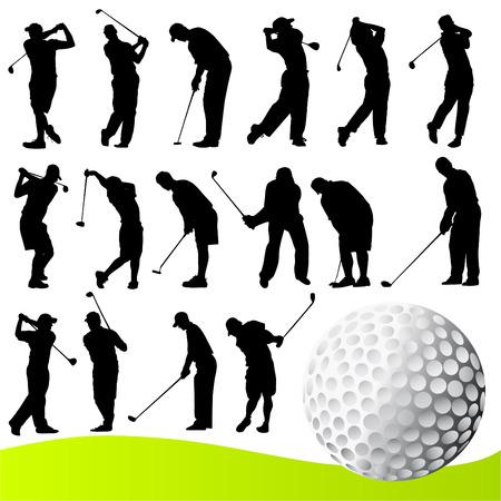 golfing: set van golfspeler