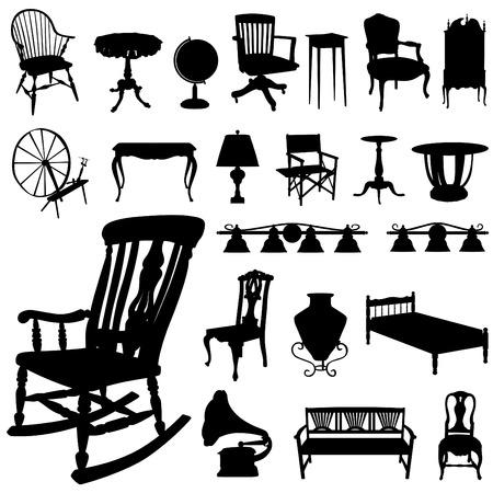 muebles antiguos: conjunto de muebles antiguos  Vectores