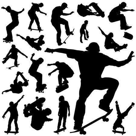 collection of skateboarding  Vector