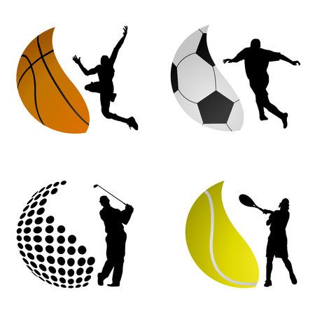 individual sports: sport ball logos  Illustration