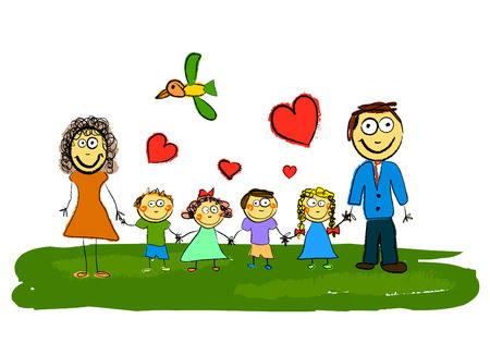 animation: cartoon family  Illustration