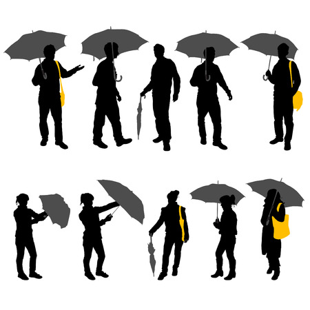 sheltering: peoples with umbrella  Illustration