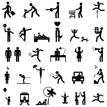 skateboarding: set of people icons
