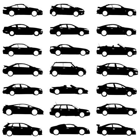 silhouette voiture: ensemble de voitures