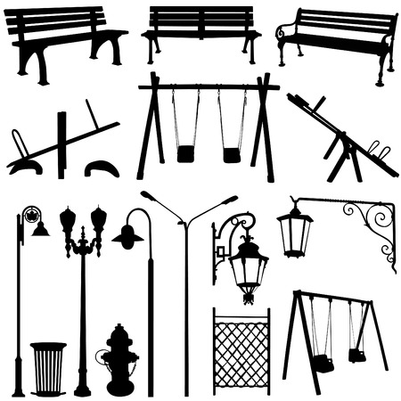 banc parc: le parc en plein air objet  Illustration