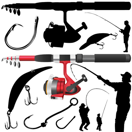 fishing rod, reel, hook Vector
