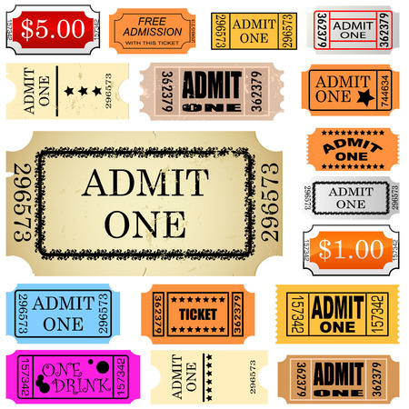 circus ticket: set of ticket admit one
