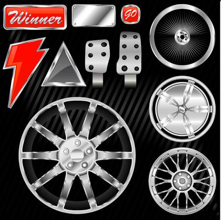 sport car equipments (rim, graphic, pedal) Vector Illustration