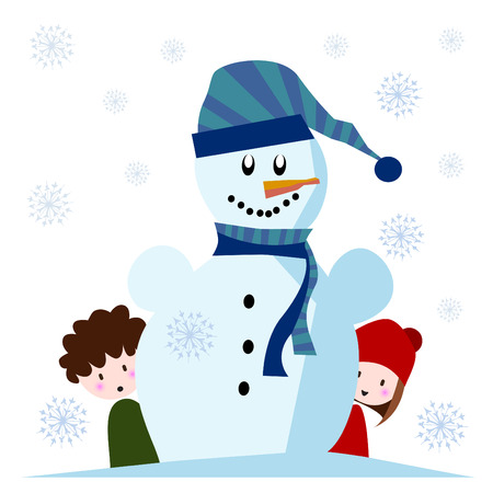 cute snowman with kids  Vector