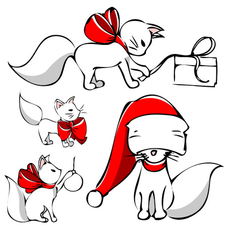 new year cat: cute christmas cat  Illustration