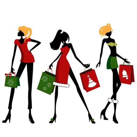 christmas shopping woman  Stock Vector - 8355806