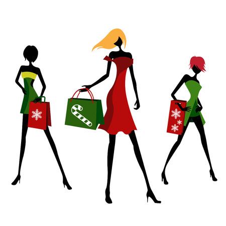 compras de Navidad  Ilustración de vector