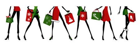 chicas de compras: compras de Navidad