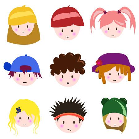 cartoon kinderen gezicht  Vector Illustratie